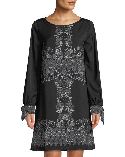 Max Studio - Black Long-sleeve Floral Shift Dress - Lyst