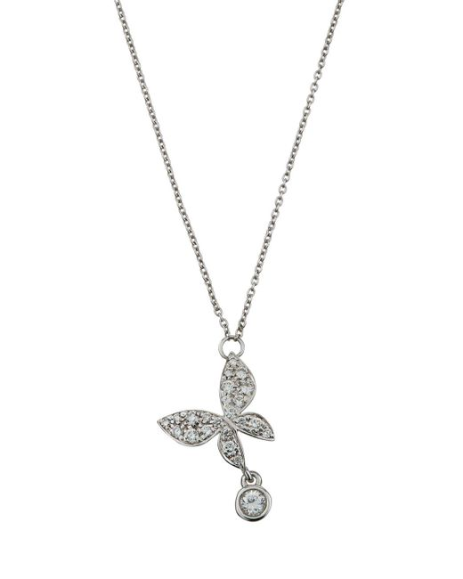Mimi So - 18k White Gold Diamond Butterfly Necklace - Lyst