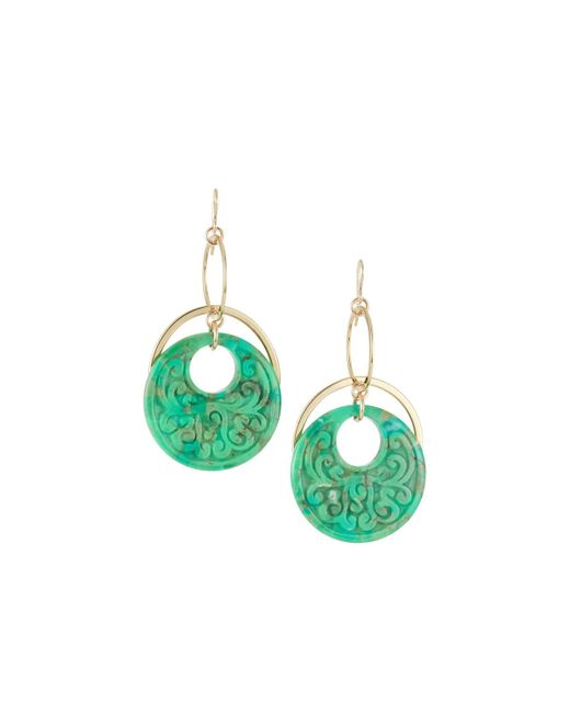 Devon Leigh - Carved Green Turquoise Drop Earrings - Lyst