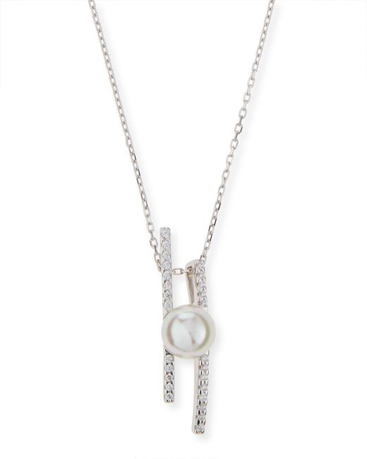 Majorica | White Pearl Pavé Crystal Bar Necklace | Lyst