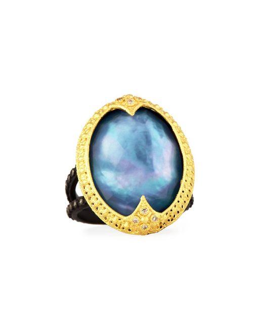Armenta - Blue Old World Triplet Ring W/ Mixed Diamonds - Lyst