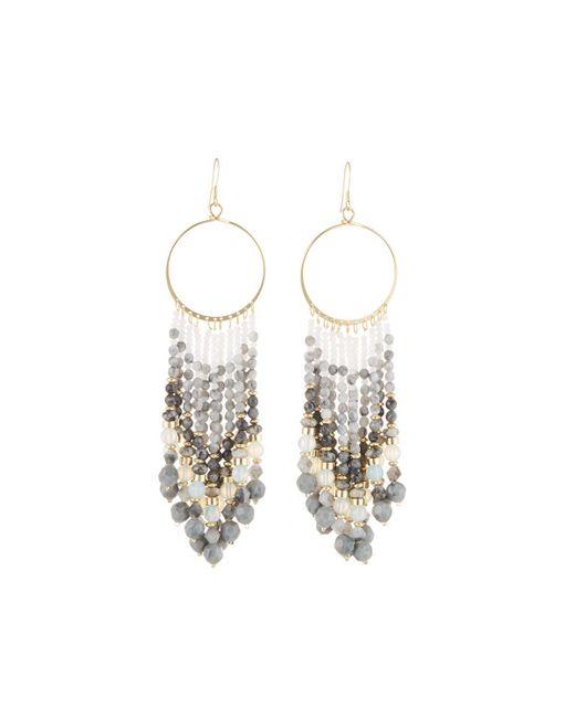 Lydell NYC - Gray Chandelier Beaded Tassel Earrings - Lyst