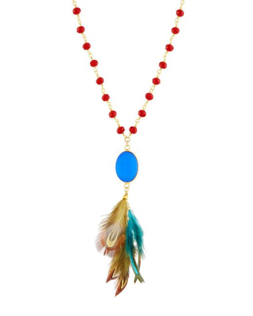Panacea - Multicolor Long Beaded Crystal & Feather Necklace - Lyst