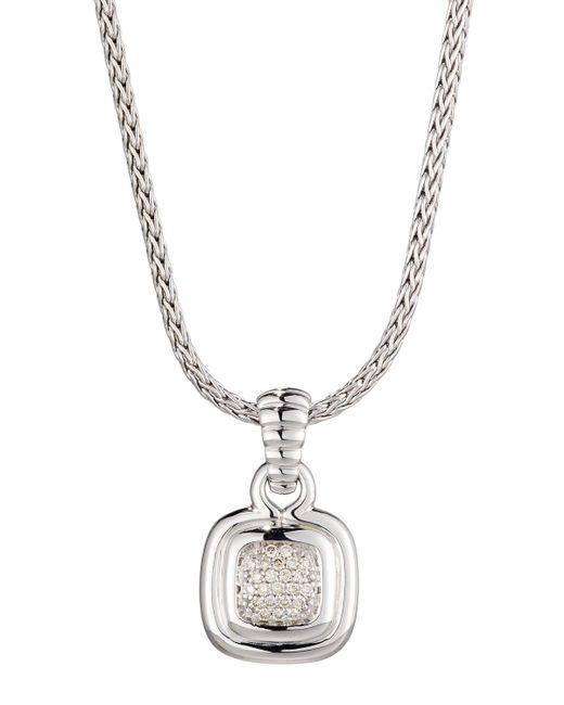 John Hardy - Metallic Bedeg Pave Diamond Cushion Pendant Necklace - Lyst