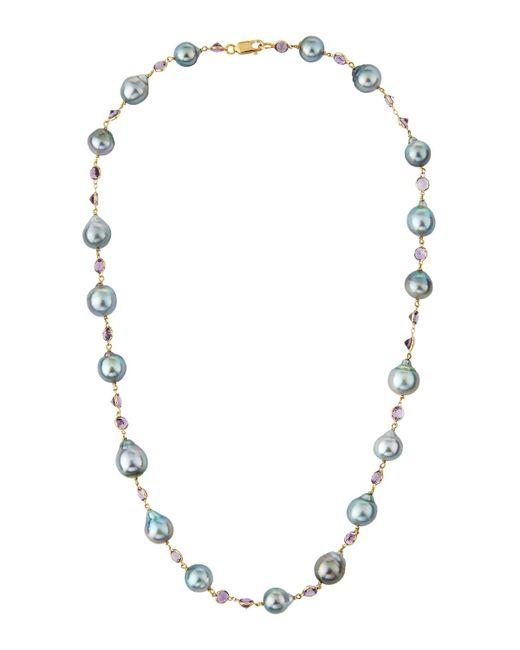 Belpearl | 18k Gray Tahitian Pearl & Amethyst Necklace | Lyst