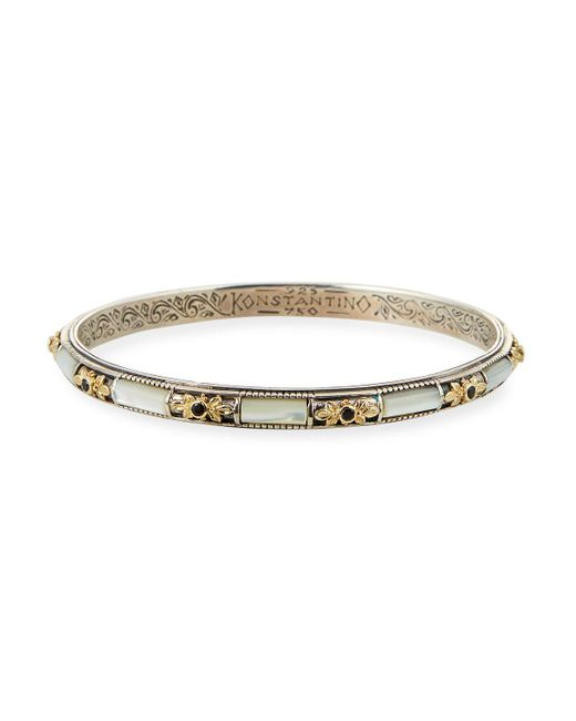 Konstantino - Metallic Silver & 18k Gold Mother-of-pearl Bangle With Spinel - Lyst