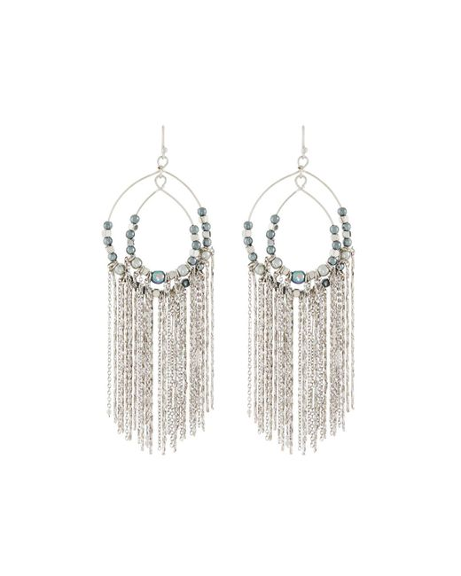 Lydell NYC - Metallic Pearly Chain Fringe Earrings - Lyst