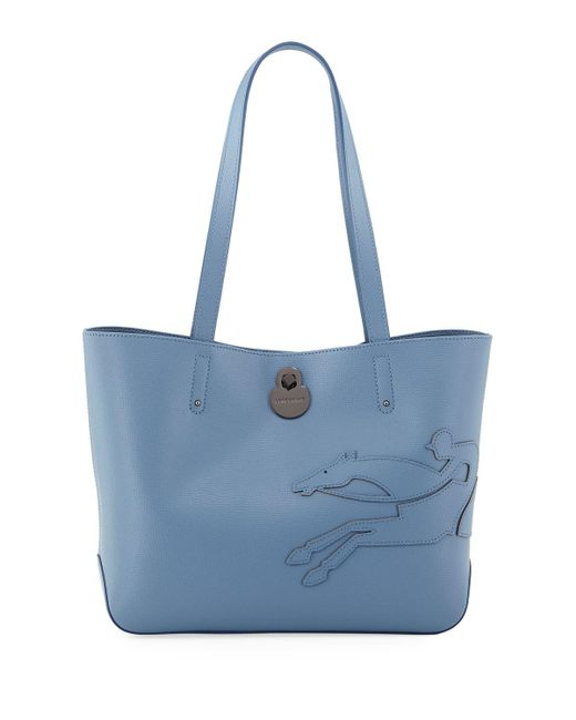 dbaa858b73dd Lyst - Longchamp Shop-it Leather Shoulder Tote Bag in Blue - Save ...