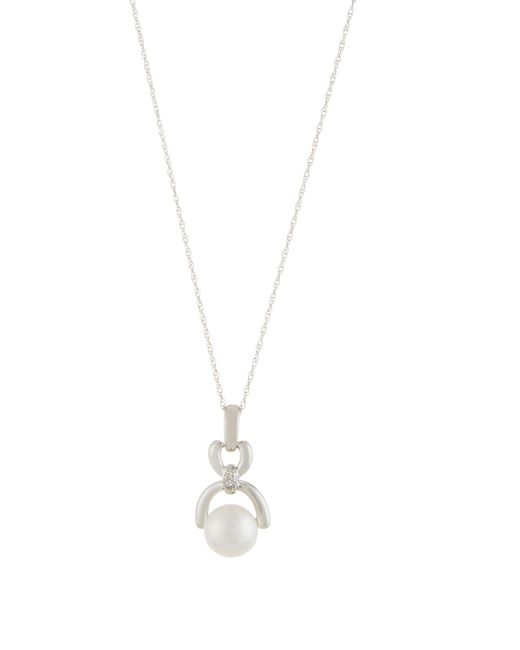 Belpearl | 14k White Gold Freshwater Pearl & Diamond Pendant Necklace | Lyst