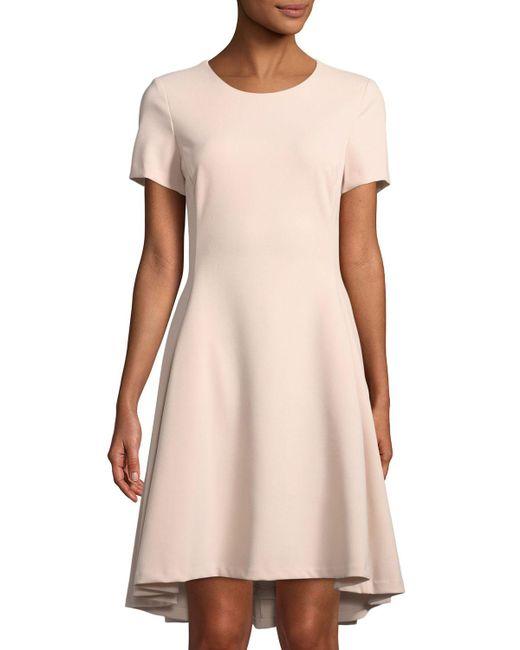 Donna Karan - Black Short-sleeve A-line High-low Dress - Lyst