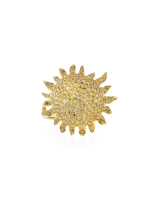 Roberto Coin - Metallic 18k Diamond Sun Ring - Lyst