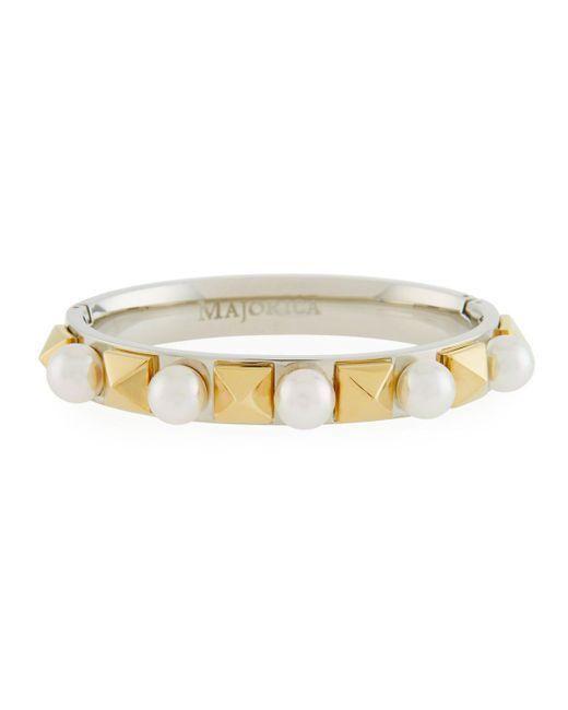 Majorica - Metallic Two-tone Stud & Pearl Bracelet - Lyst