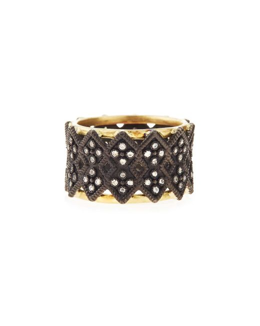 Armenta - Metallic Double Crivelli Wide Band Ring - Lyst