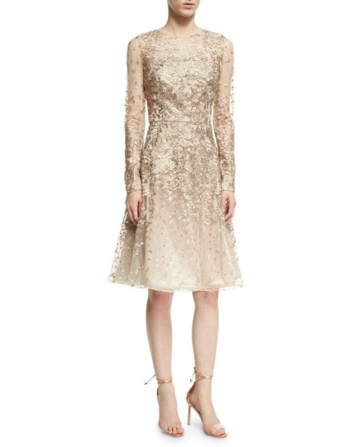 David Meister - Natural Long-sleeve Lace Cocktail Dress - Lyst