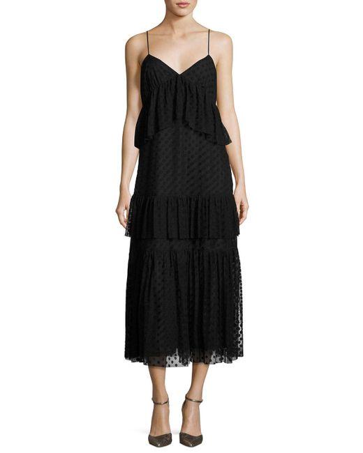 Robert Rodriguez - Black Sleeveless Polka-dot Lace Tiered Dress - Lyst