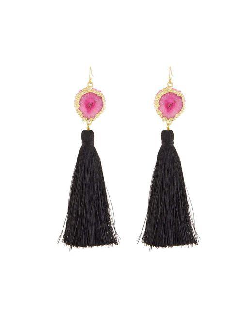 Panacea | Pink Druzy & Black Tassel Drop Earrings | Lyst