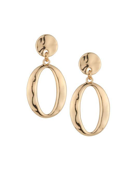Lydell NYC - Metallic Golden Hoop Drop Earrings - Lyst