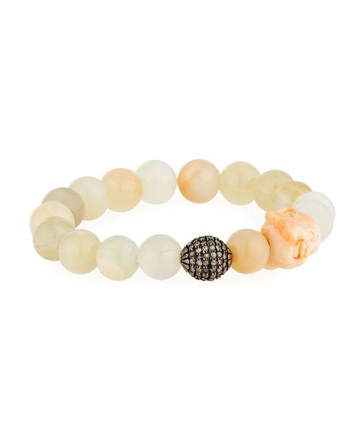 Bavna | Metallic Moonstone & Diamond Beaded Stretch Bracelet | Lyst