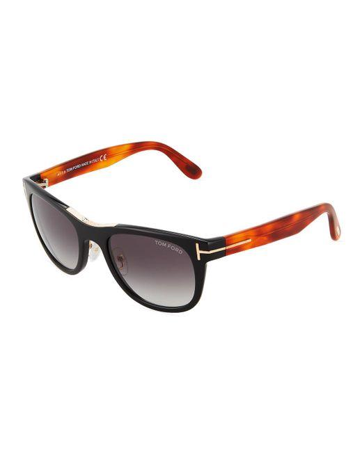 Tom Ford - Black Two-tone Plastic Round Sunglasses - Lyst