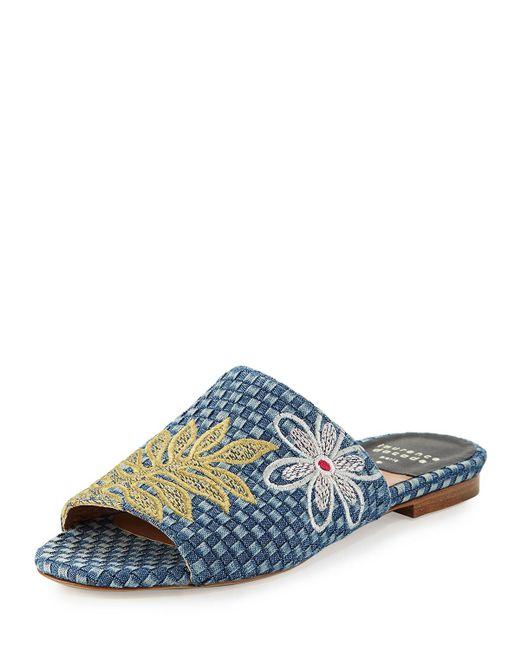 Laurence Dacade - Blue Nice Embroidered Denim Slide Sandals - Lyst