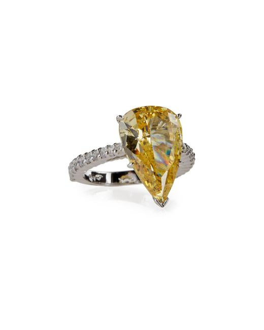 Fantasia by Deserio - Yellow Large Pear-cut Canary Crystal Ring - Lyst