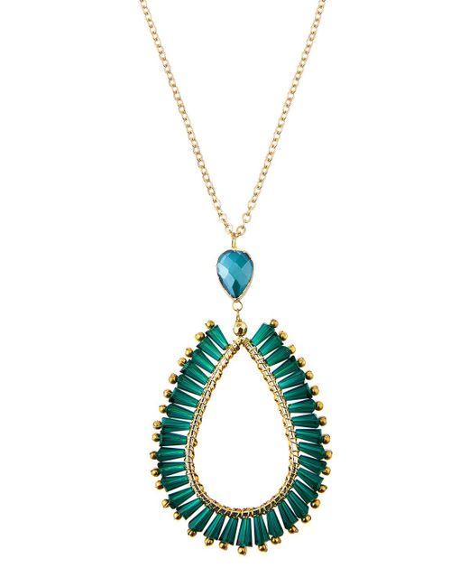 Panacea - Green Crystal Teardrop Pendant Necklace - Lyst
