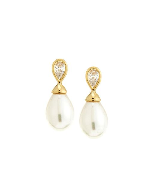 Majorica - White Round Pearl And Cubic Zirconia Drop Earrings - Lyst