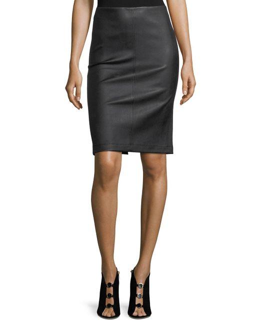 Neiman Marcus - Black Leather Pencil Skirt - Lyst