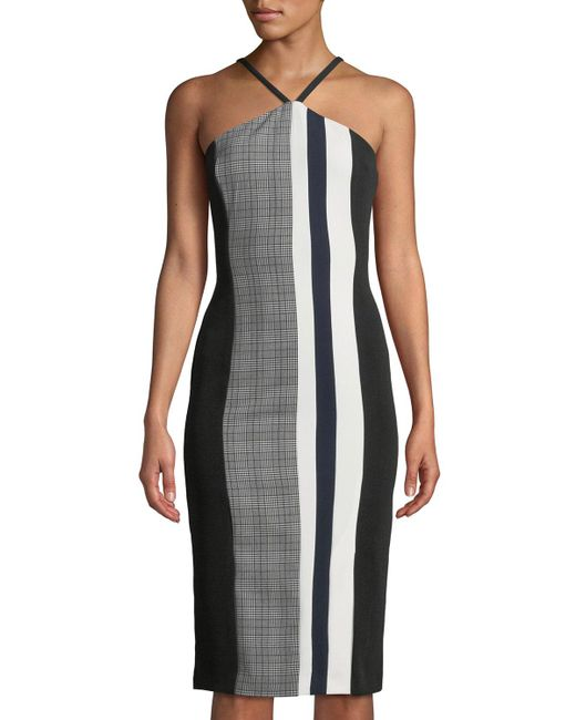 RACHEL Rachel Roy - Black Hailey Mixed-stripe Halter Dress - Lyst