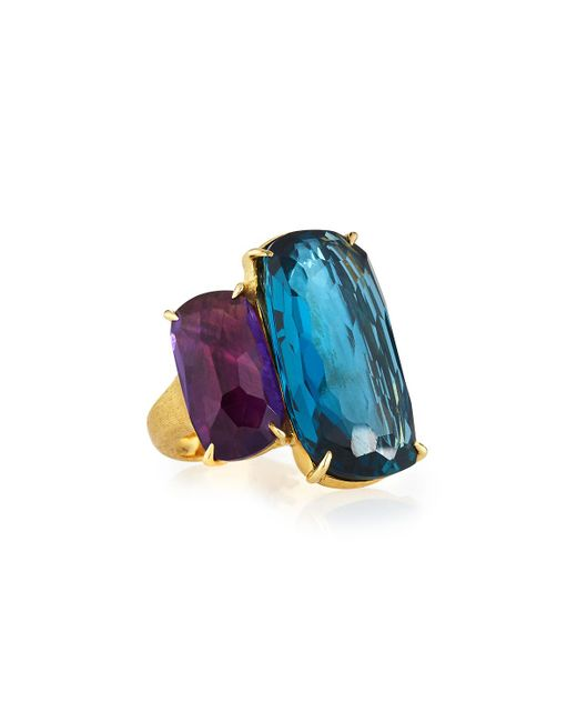 Marco Bicego - Blue 18k Cushion-cut Amethyst & Topaz Cocktail Ring - Lyst
