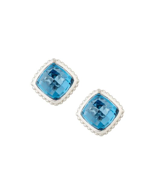 Judith Ripka | Blue Cushion-cut Indigo Spinel Button Earrings | Lyst