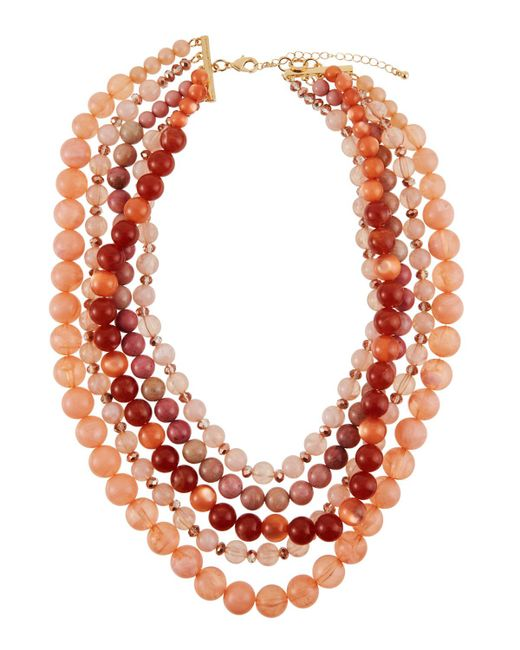 Lydell NYC - Pink Five-strand Beaded Necklace - Lyst