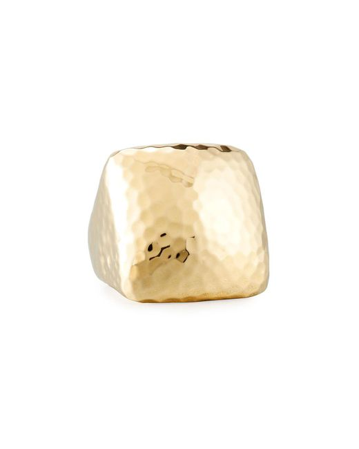 Roberto Coin | Metallic Martellato Square 18k Gold Ring | Lyst