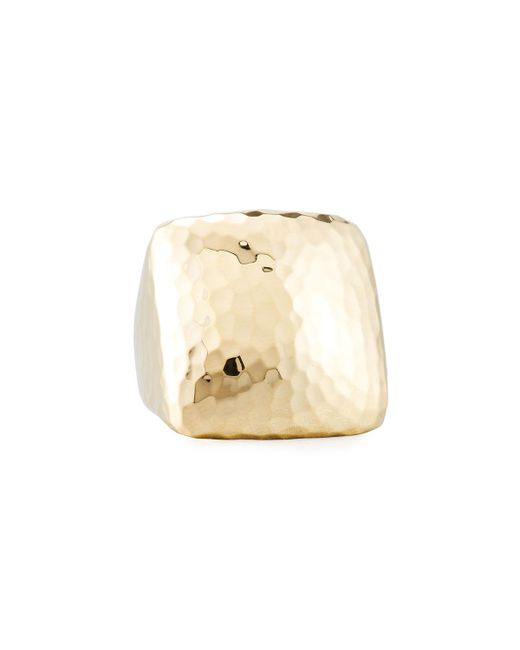 Roberto Coin - Metallic Martellato Square 18k Gold Ring - Lyst