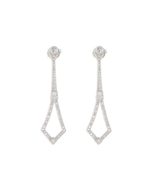 Penny Preville - 18k White Gold Art Deco Diamond Drop Earrings - Lyst