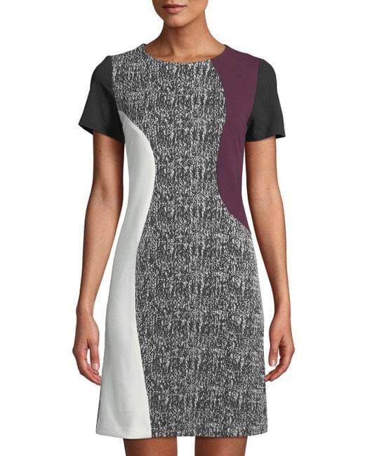 a101421e50 Neiman Marcus - Black Colorblocked Short-sleeve Sheath Dress - Lyst ...