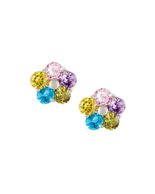 Fragments - Multicolor Crystal Floral Stud Earrings - Lyst