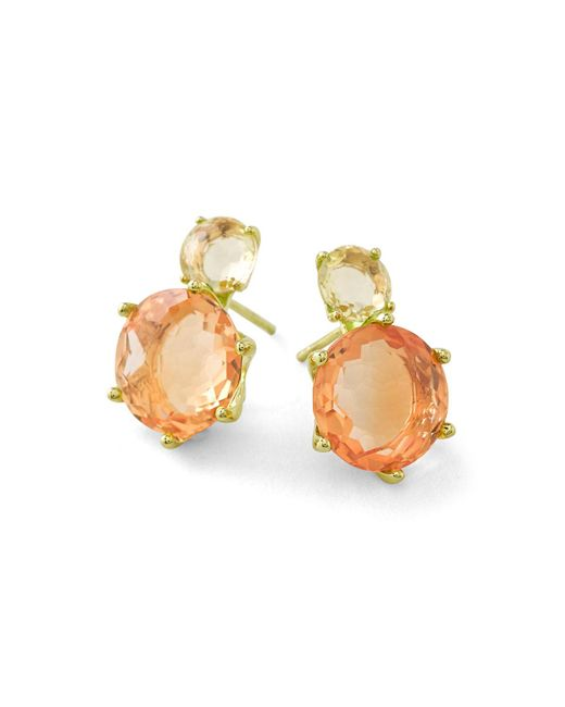 Ippolita   18k Rock Candy 2-stone Post Earrings In Green-gold/orange Citrine   Lyst