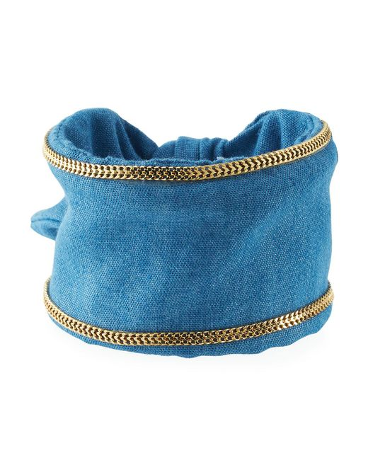 Lydell NYC | Metallic Chain-trimmed Denim Cuff Bracelet | Lyst