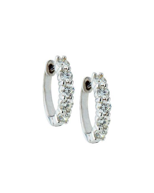 Neiman Marcus - 14k White Gold Shared Prong Diamond Huggie Hoop Earrings - Lyst