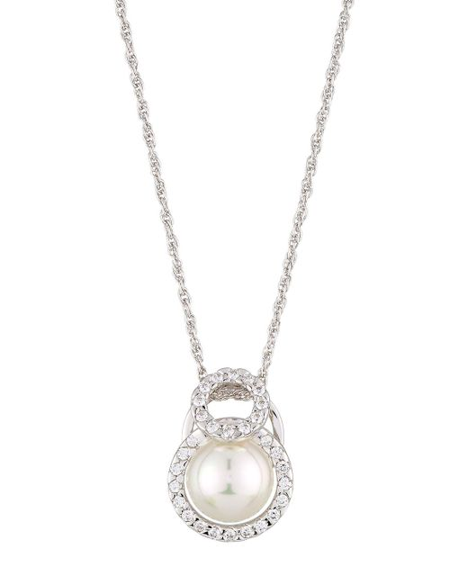 Majorica | White 12mm Pearl Necklace W/ Cz Halo | Lyst