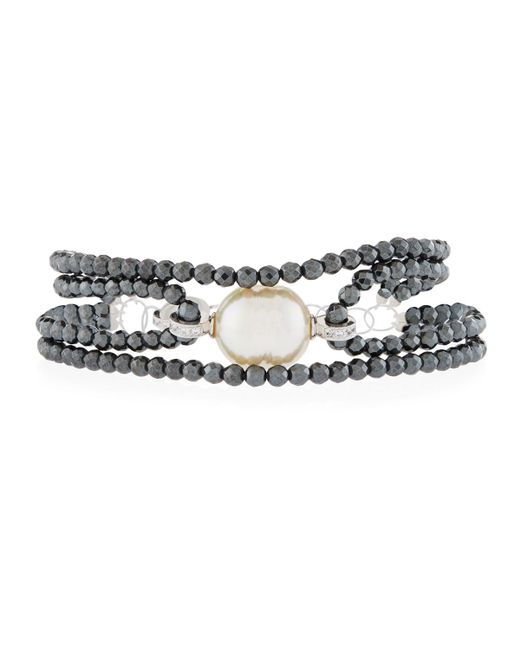 Majorica - Metallic Four-row Beaded Baroque Bracelet - Lyst