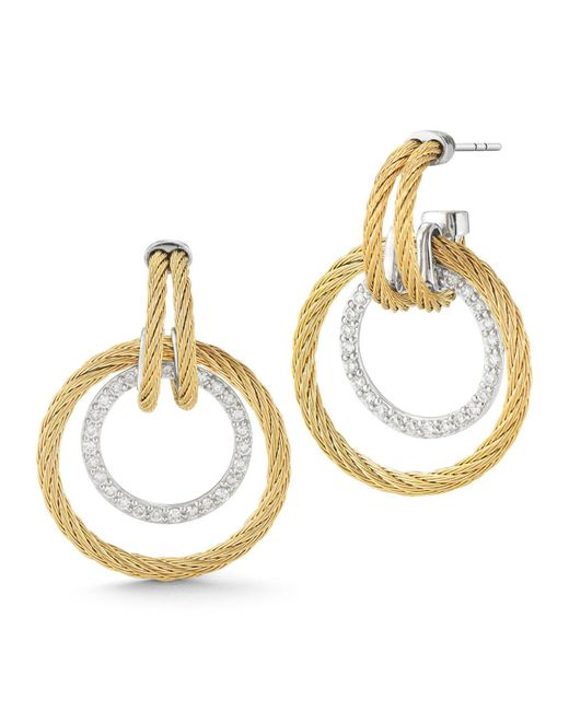 Alor - Yellow Double Cable Diamond Hoop Drop Earrings - Lyst