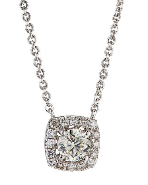 Neiman Marcus - 14k White Gold Diamond Cushion Solitaire Pendant Necklace 0.86tcw - Lyst