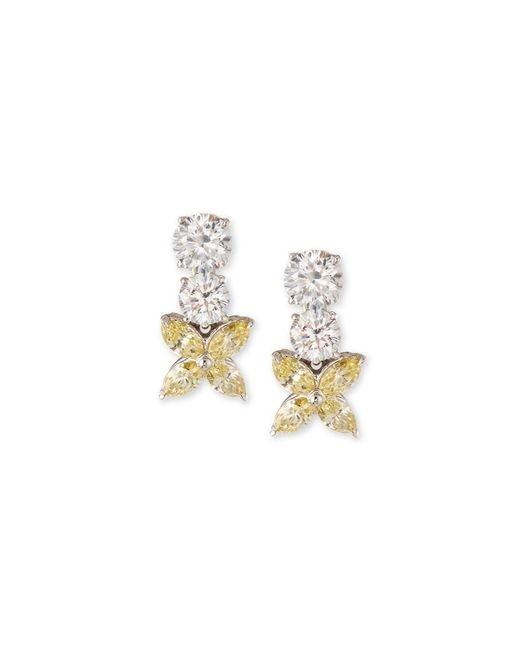 Fantasia by Deserio - Multicolor Marquis Cz Flower Drop Earrings - Lyst