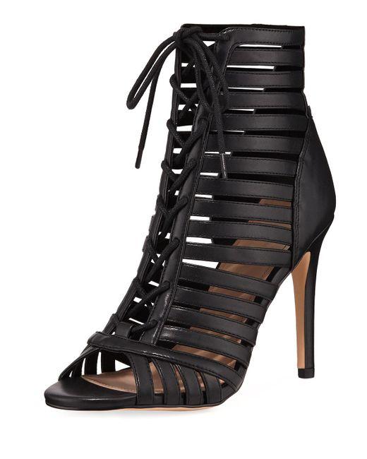 BCBGeneration - Black Julia Faux-leather Peep-toe Sandal Booties - Lyst