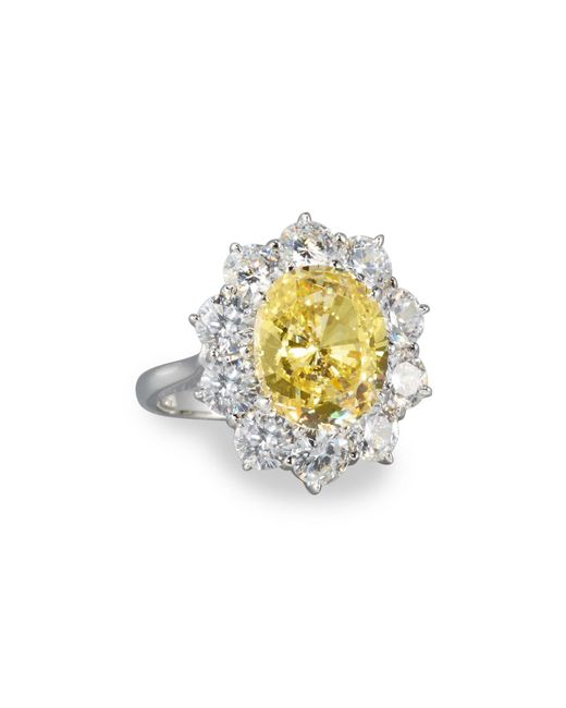 Fantasia by Deserio - Metallic Oval Canary & Clear Cz Crystal Flower Ring - Lyst