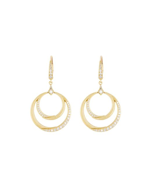 Penny Preville - Metallic 18k Diamond Double Crescent Circle Drops - Lyst