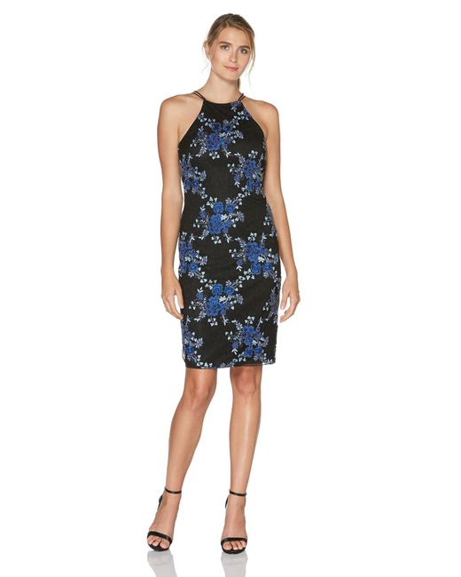 Laundry by Shelli Segal - Blue Floral Embroidered Lace Dress - Lyst