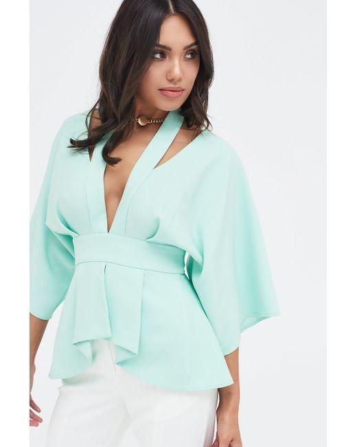 a77e79dd84154 ... Lavish Alice - Multicolor Cut Out Shoulder Kimono Sleeve Top In Mint -  Lyst ...